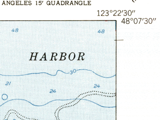 Reduced fragment of topographic map en--usgs--024k--036018--(1950)--N048-07-30_W123-30-00--N048-00-00_W123-22-30; towns and cities Port Angeles, Port Angeles East