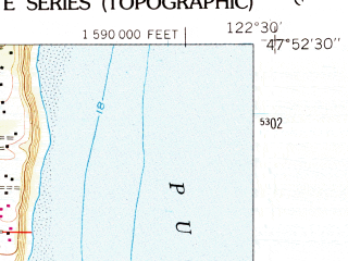 Reduced fragment of topographic map en--usgs--024k--036030--(1953)--N047-52-30_W122-37-30--N047-45-00_W122-30-00; towns and cities Indianola