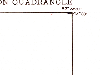 Reduced fragment of topographic map en--usgs--024k--036034--(1949)--N043-00-00_W082-30-00--N042-52-30_W082-22-30; towns and cities Port Huron, Marysville