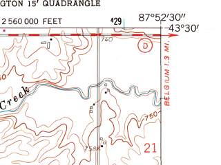 Reduced fragment of topographic map en--usgs--024k--036065--(1959)--N043-30-00_W088-00-00--N043-22-30_W087-52-30; towns and cities Port Washington, Saukville, Fredonia
