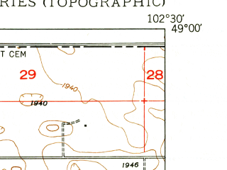 Reduced fragment of topographic map en--usgs--024k--036083--(1949)--N049-00-00_W102-37-30--N048-52-30_W102-30-00; towns and cities Lignite, Portal