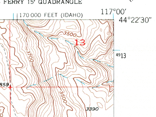 Reduced fragment of topographic map en--usgs--024k--036101--(1952)--N044-22-30_W117-07-30--N044-15-00_W117-00-00
