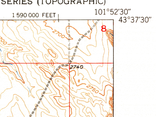 Reduced fragment of topographic map en--usgs--024k--036163--(1950)--N043-37-30_W102-00-00--N043-30-00_W101-52-30