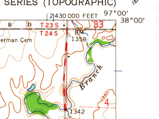 Reduced fragment of topographic map en--usgs--024k--036223--(1961)--N038-00-00_W097-07-30--N037-52-30_W097-00-00; towns and cities Potwin