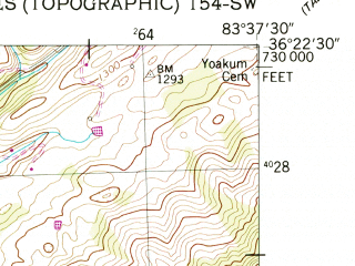 Reduced fragment of topographic map en--usgs--024k--036250--(1952)--N036-22-30_W083-45-00--N036-15-00_W083-37-30