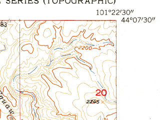 Reduced fragment of topographic map en--usgs--024k--036260--(1954)--N044-07-30_W101-30-00--N044-00-00_W101-22-30