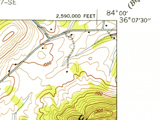 Reduced fragment of topographic map en--usgs--024k--036263--(1941)--N036-07-30_W084-07-30--N036-00-00_W084-00-00; towns and cities Powell