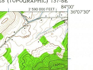 Reduced fragment of topographic map en--usgs--024k--036263--(1952)--N036-07-30_W084-07-30--N036-00-00_W084-00-00; towns and cities Powell