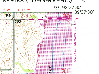 Reduced fragment of topographic map en--usgs--024k--036323--(1953)--N039-37-30_W092-45-00--N039-30-00_W092-37-30
