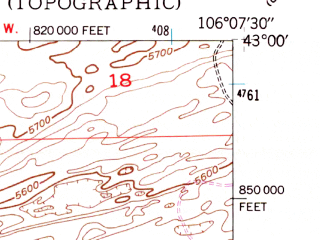 Reduced fragment of topographic map en--usgs--024k--036347--(1949)--N043-00-00_W106-15-00--N042-52-30_W106-07-30