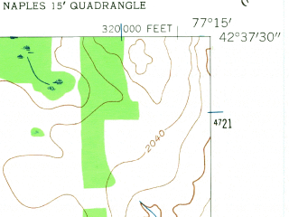 Reduced fragment of topographic map en--usgs--024k--036348--(1942)--N042-37-30_W077-22-30--N042-30-00_W077-15-00