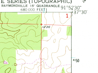 Reduced fragment of topographic map en--usgs--024k--036369--(1951)--N037-30-00_W092-00-00--N037-22-30_W091-52-30
