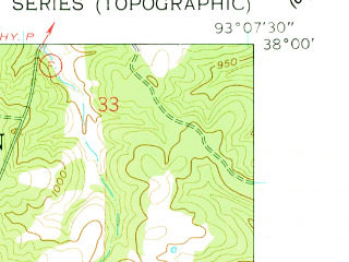 Reduced fragment of topographic map en--usgs--024k--036394--(1960)--N038-00-00_W093-15-00--N037-52-30_W093-07-30; towns and cities Preston