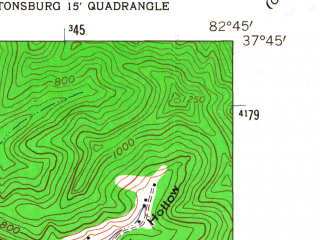 Reduced fragment of topographic map en--usgs--024k--036403--(1962)--N037-45-00_W082-52-30--N037-37-30_W082-45-00; towns and cities Prestonsburg