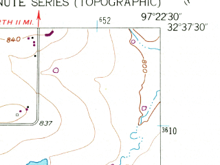 Reduced fragment of topographic map en--usgs--024k--036449--(1955)--N032-37-30_W097-30-00--N032-30-00_W097-22-30
