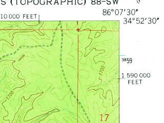 Reduced fragment of topographic map en--usgs--024k--036465--(1948)--N034-52-30_W086-15-00--N034-45-00_W086-07-30