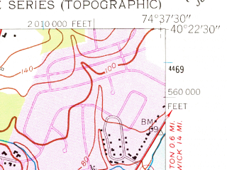 Reduced fragment of topographic map en--usgs--024k--036466--(1954)--N040-22-30_W074-45-00--N040-15-00_W074-37-30; towns and cities Princeton, Lawrenceville, Princeton North