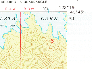 Reduced fragment of topographic map en--usgs--024k--036520--(1957)--N040-45-00_W122-22-30--N040-37-30_W122-15-00; towns and cities Central Valley