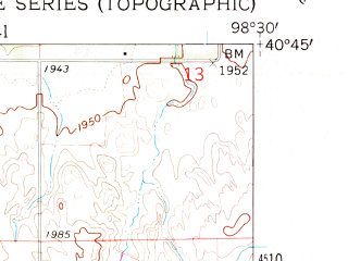 Reduced fragment of topographic map en--usgs--024k--036542--(1962)--N040-45-00_W098-37-30--N040-37-30_W098-30-00; towns and cities Prosser