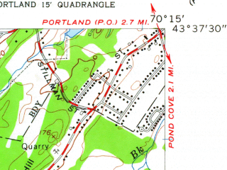 Reduced fragment of topographic map en--usgs--024k--036554--(1959)--N043-37-30_W070-22-30--N043-30-00_W070-15-00; towns and cities Scarborough