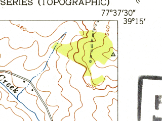 Reduced fragment of topographic map en--usgs--024k--036652--(1953)--N039-15-00_W077-45-00--N039-07-30_W077-37-30; towns and cities Hamilton, Hillsboro, Purcellville