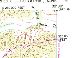 Reduced fragment of topographic map en--usgs--024k--036660--(1949)--N035-15-00_W088-37-30--N035-07-30_W088-30-00; towns and cities Bethel Springs, Selmer