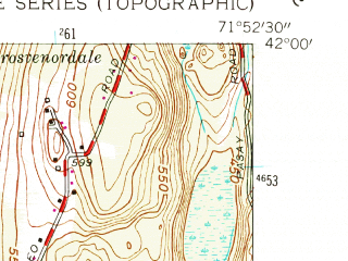 Reduced fragment of topographic map en--usgs--024k--036683--(1955)--N042-00-00_W072-00-00--N041-52-30_W071-52-30; towns and cities Putnam District, North Grosvenor Dale, South Woodstock
