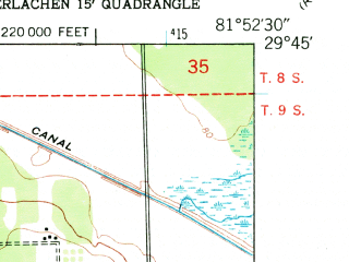 Reduced fragment of topographic map en--usgs--024k--036685--(1949)--N029-45-00_W082-00-00--N029-37-30_W081-52-30