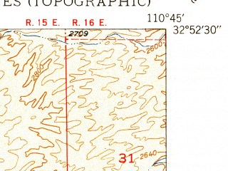 Reduced fragment of topographic map en--usgs--024k--036692--(1950)--N032-52-30_W110-52-30--N032-45-00_W110-45-00