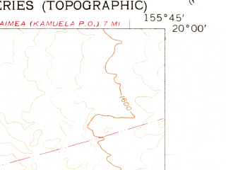 Reduced fragment of topographic map en--usgs--024k--036697--(1956)--N020-00-00_W155-52-30--N019-52-30_W155-45-00 in area of Auwaiakeakua Gulch; towns and cities Puako, Waikoloa Village
