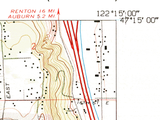 Reduced fragment of topographic map en--usgs--024k--036708--(1961)--N047-15-00_W122-22-30--N047-07-30_W122-15-00; towns and cities Puyallup, South Hill, Summit, Waller, Fife