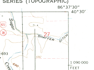 Reduced fragment of topographic map en--usgs--024k--036727--(1961)--N040-30-00_W086-45-00--N040-22-30_W086-37-30