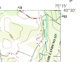 Reduced fragment of topographic map en--usgs--024k--036740--(1957)--N040-30-00_W075-22-30--N040-22-30_W075-15-00; towns and cities Quakertown, Richlandtown