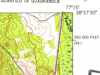 Reduced fragment of topographic map en--usgs--024k--036750--(1952)--N038-37-30_W077-22-30--N038-30-00_W077-15-00; towns and cities Montclair, Dumfries, Quantico, Triangle