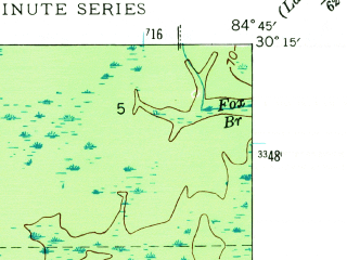 Reduced fragment of topographic map en--usgs--024k--036775--(1944)--N030-15-00_W084-52-30--N030-07-30_W084-45-00