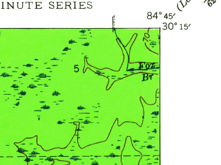 Reduced fragment of topographic map en--usgs--024k--036775--(1946)--N030-15-00_W084-52-30--N030-07-30_W084-45-00