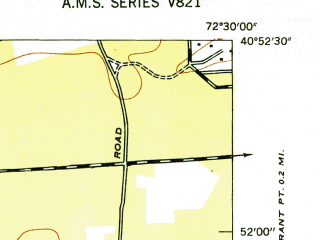 Reduced fragment of topographic map en--usgs--024k--036846--(1947)--N040-52-30_W072-37-30--N040-45-00_W072-30-00; towns and cities Hampton Bays, East Quogue, Quogue