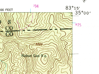 Reduced fragment of topographic map en--usgs--024k--036865--(1946)--N035-00-00_W083-22-30--N034-52-30_W083-15-00; towns and cities Sky Valley