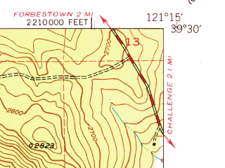 Reduced fragment of topographic map en--usgs--024k--036872--(1948)--N039-30-00_W121-22-30--N039-22-30_W121-15-00; towns and cities Challenge-brownsville