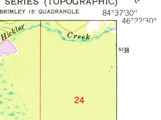 Reduced fragment of topographic map en--usgs--024k--036875--(1951)--N046-22-30_W084-45-00--N046-15-00_W084-37-30