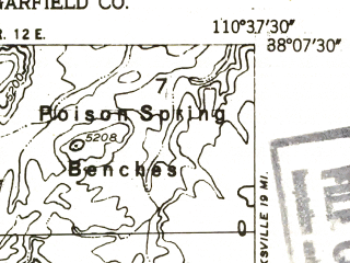 Reduced fragment of topographic map en--usgs--024k--036901--(1952)--N038-07-30_W110-45-00--N038-00-00_W110-37-30