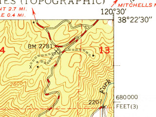 Reduced fragment of topographic map en--usgs--024k--036915--(1949)--N038-22-30_W120-37-30--N038-15-00_W120-30-00