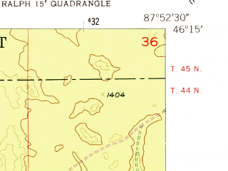 Reduced fragment of topographic map en--usgs--024k--036954--(1955)--N046-15-00_W088-00-00--N046-07-30_W087-52-30
