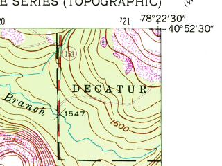 Reduced fragment of topographic map en--usgs--024k--036968--(1945)--N040-52-30_W078-30-00--N040-45-00_W078-22-30; towns and cities Glen Hope, Ramey
