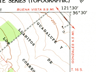 Reduced fragment of topographic map en--usgs--024k--036996--(1956)--N036-30-00_W121-37-30--N036-22-30_W121-30-00