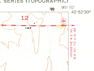 Reduced fragment of topographic map en--usgs--024k--037018--(1957)--N040-52-30_W095-37-30--N040-45-00_W095-30-00; towns and cities Randolph