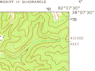 Reduced fragment of topographic map en--usgs--024k--037042--(1962)--N038-07-30_W082-15-00--N038-00-00_W082-07-30; towns and cities Harts