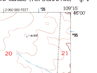 Reduced fragment of topographic map en--usgs--024k--037064--(1956)--N046-00-00_W109-22-30--N045-52-30_W109-15-00