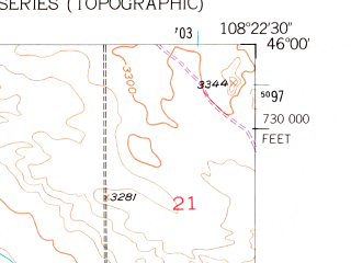 Reduced fragment of topographic map en--usgs--024k--037108--(1956)--N046-00-00_W108-30-00--N045-52-30_W108-22-30