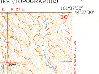 Reduced fragment of topographic map en--usgs--024k--037124--(1955)--N044-37-30_W101-45-00--N044-30-00_W101-37-30